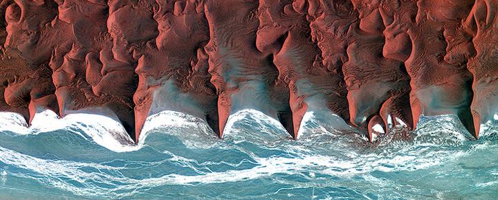 The Namib desert, as seen from the Korean KompSat-2 Satellite